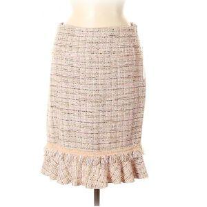"$380 Anne Kline ""Paris"" Woven Tweed Skirt"